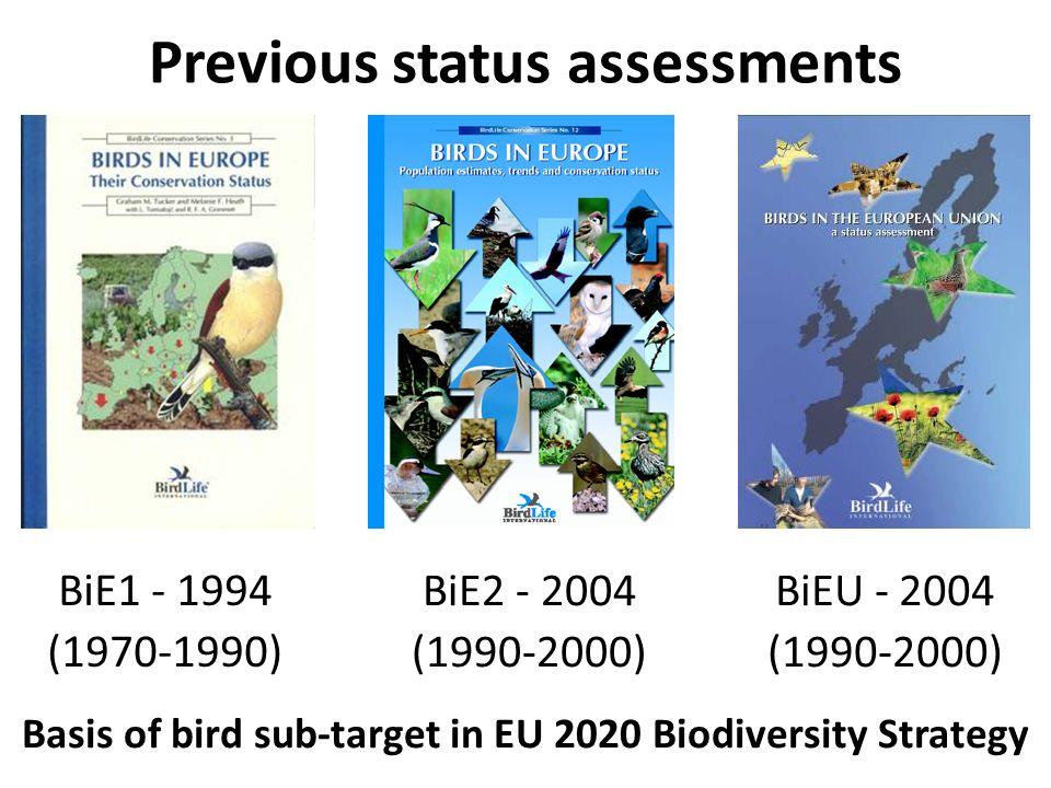 Previous status assessments BiE1 - 1994 (1970-1990) BiE2 - 2004 (1990-2000) BiEU - 2004 (1990-2000) Basis of bird sub-target in EU 2020 Biodiversity Strategy