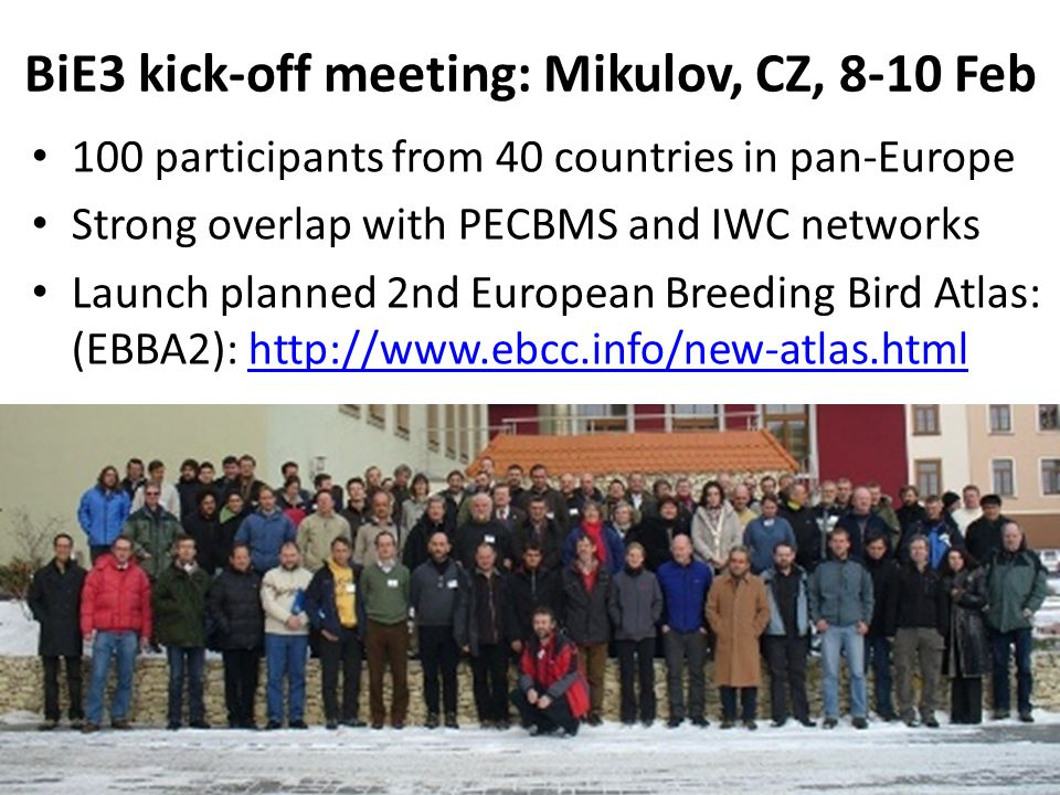 BiE3 kick-off meeting: Mikulov, CZ, 8-10 Feb 100 participants from 40 countries in pan-Europe Strong overlap with PECBMS and IWC networks Launch planned 2nd European Breeding Bird Atlas: (EBBA2): http://www.ebcc.info/new-atlas.htmlhttp://www.ebcc.info/new-atlas.html
