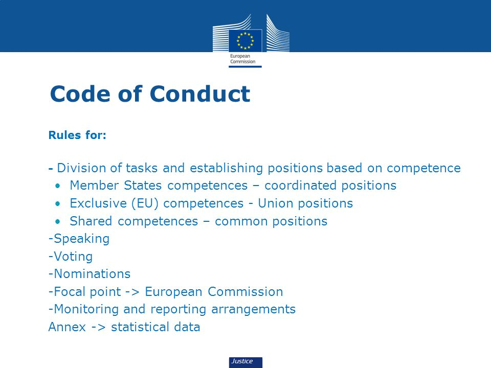 Code of Conduct Rules for: - Division of tasks and establishing positions based on competence Member States competences – coordinated positions Exclus