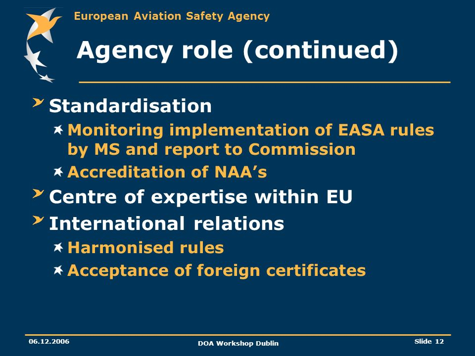 European Aviation Safety Agency 06.12.2006 DOA Workshop Dublin Slide 12 Agency role (continued) Standardisation Monitoring implementation of EASA rule