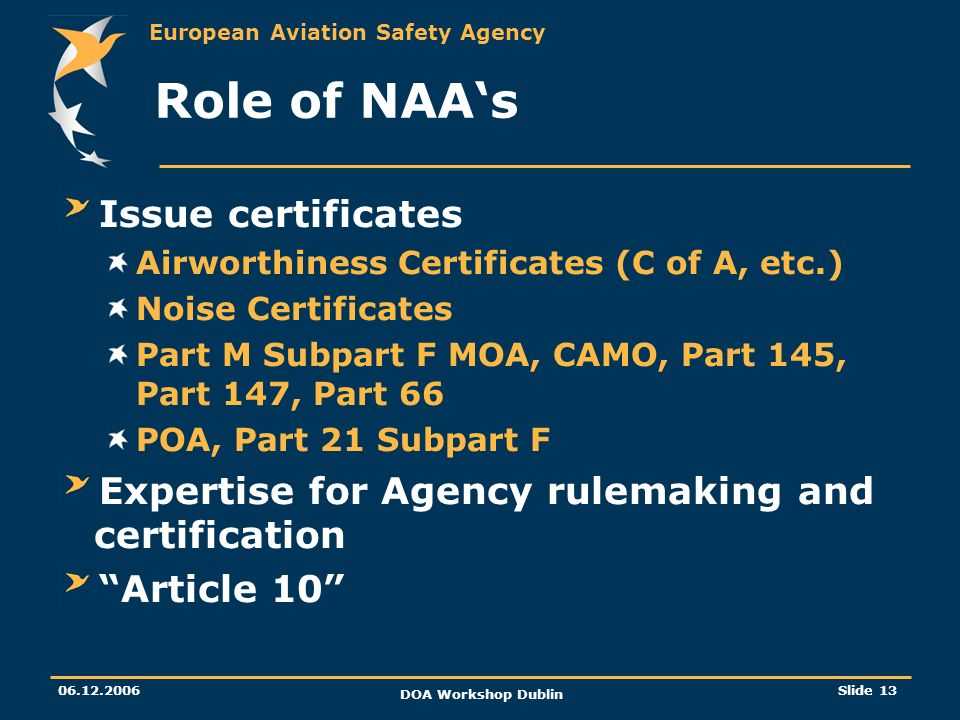 European Aviation Safety Agency 06.12.2006 DOA Workshop Dublin Slide 13 Role of NAAs Issue certificates Airworthiness Certificates (C of A, etc.) Nois