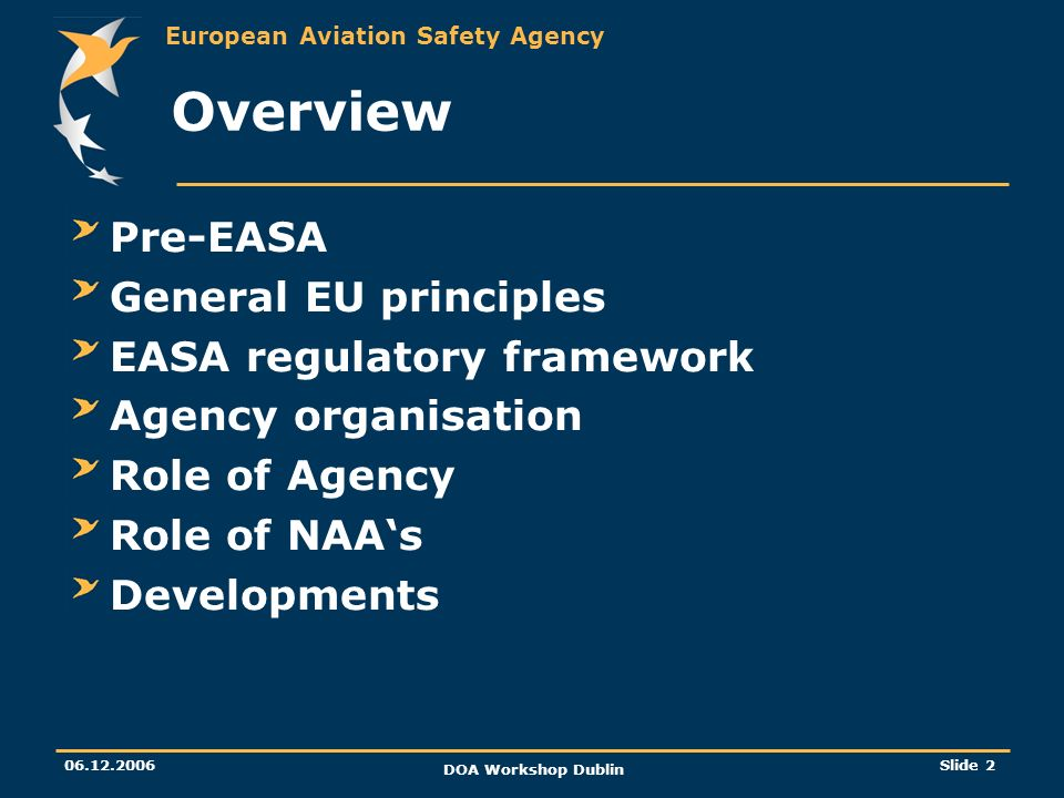 European Aviation Safety Agency 06.12.2006 DOA Workshop Dublin Slide 2 Overview Pre-EASA General EU principles EASA regulatory framework Agency organi