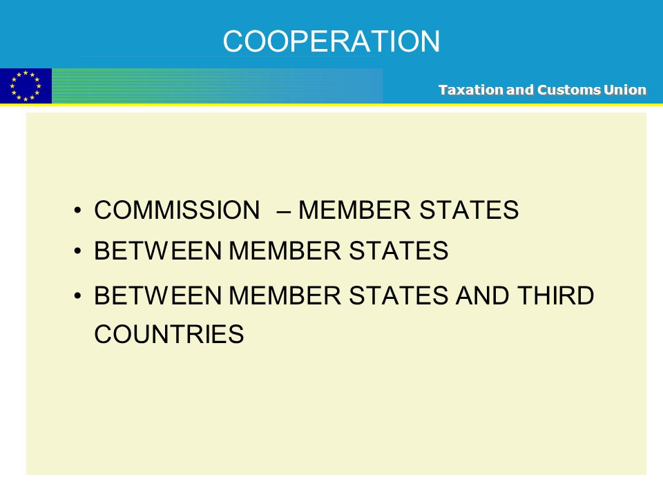 Taxation and Customs Union COOPERATION COMMISSION – MEMBER STATES BETWEEN MEMBER STATES BETWEEN MEMBER STATES AND THIRD COUNTRIES