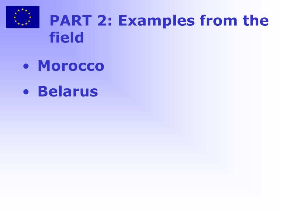 PART 2: Examples from the field Morocco Belarus