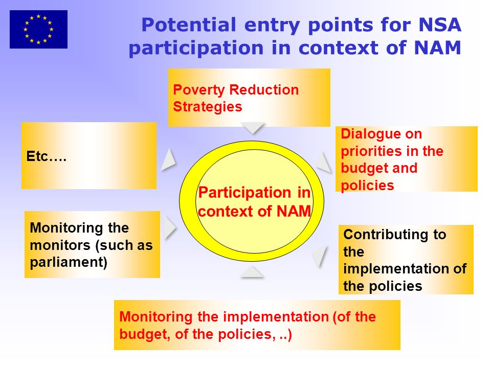 Potential entry points for NSA participation in context of NAM Participation in context of NAM Poverty Reduction Strategies Monitoring the monitors (such as parliament) Monitoring the implementation (of the budget, of the policies,..) Dialogue on priorities in the budget and policies Contributing to the implementation of the policies Etc….