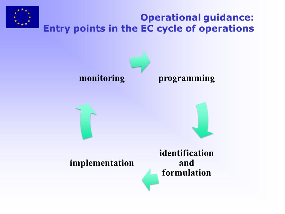Operational guidance: Entry points in the EC cycle of operations programming identification and formulation implementation monitoring