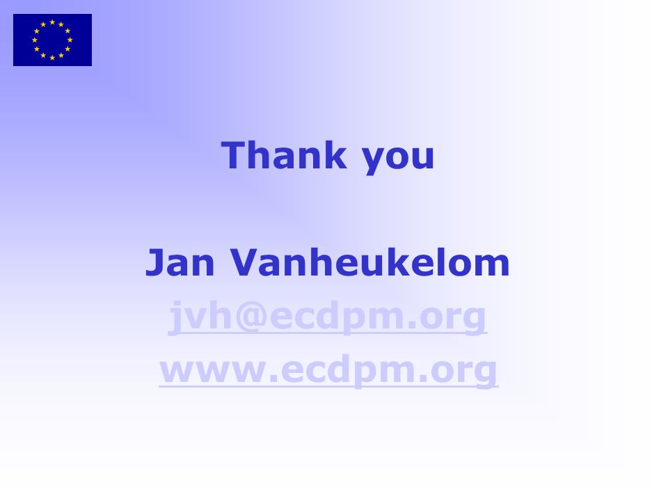 Thank you Jan Vanheukelom jvh@ecdpm.org www.ecdpm.org