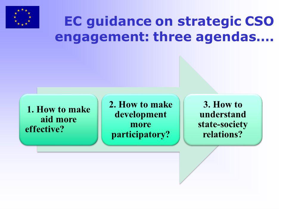 EC guidance on strategic CSO engagement: three agendas….