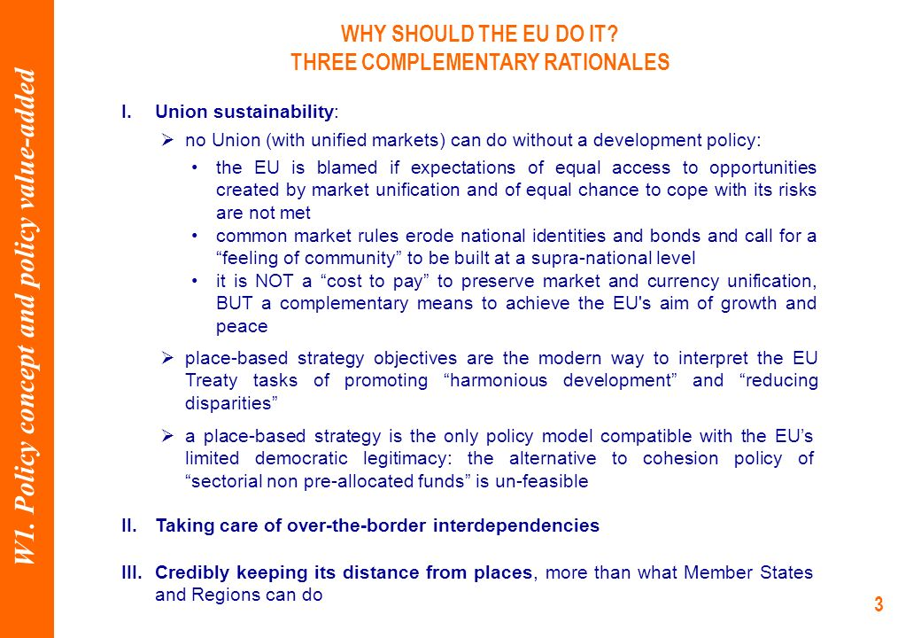 3 I.Union sustainability: WHY SHOULD THE EU DO IT.