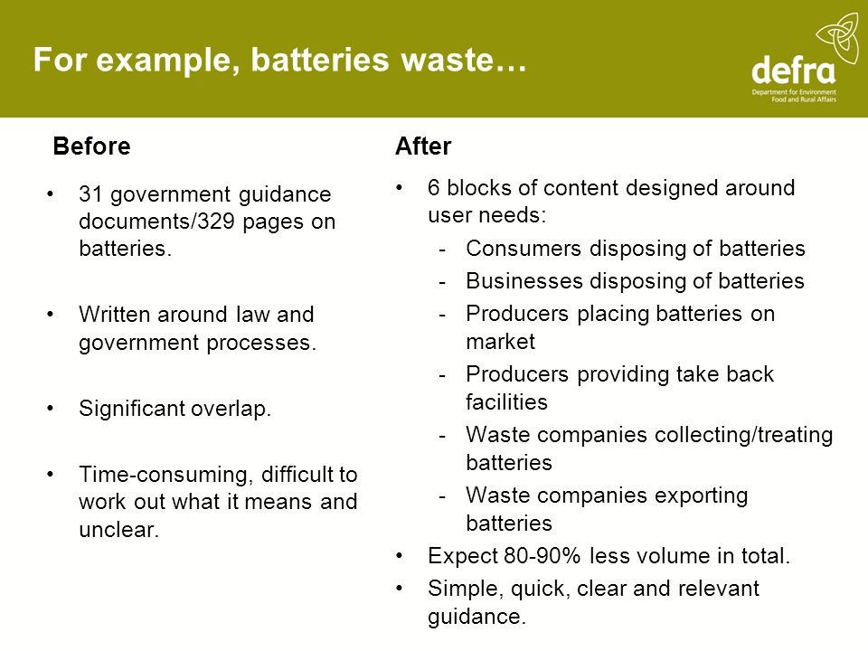 For example, batteries waste… Before 31 government guidance documents/329 pages on batteries. Written around law and government processes. Significant