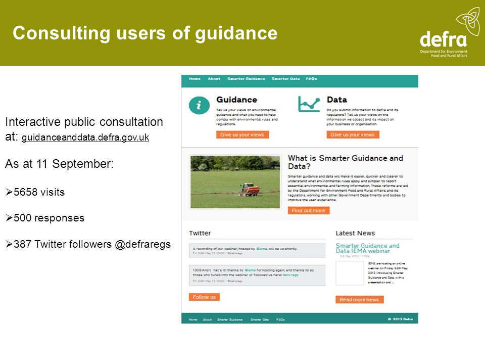 Consulting users of guidance Interactive public consultation at: guidanceanddata.defra.gov.uk As at 11 September: 5658 visits 500 responses 387 Twitte