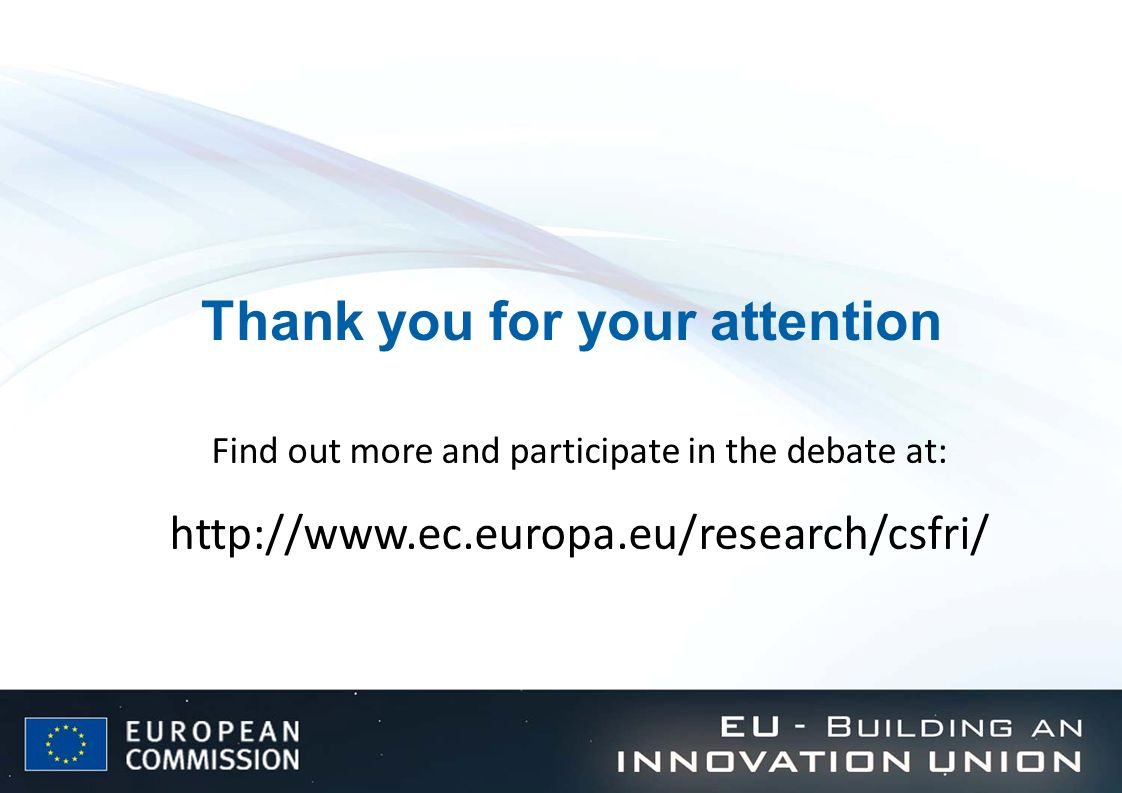 Thank you for your attention Find out more and participate in the debate at: http://www.ec.europa.eu/research/csfri/