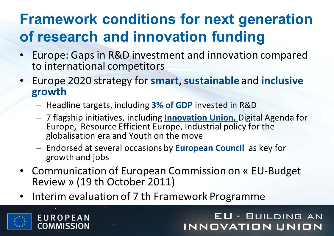 Framework conditions for next generation of research and innovation funding Europe: Gaps in R&D investment and innovation compared to international co