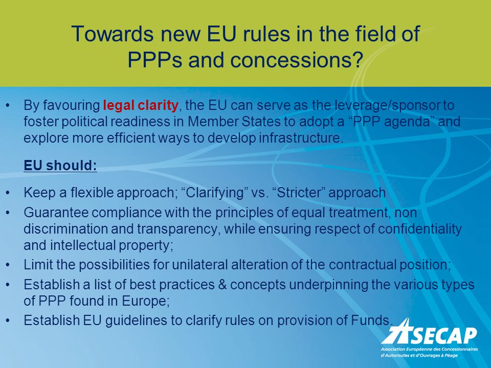 Towards new EU rules in the field of PPPs and concessions.