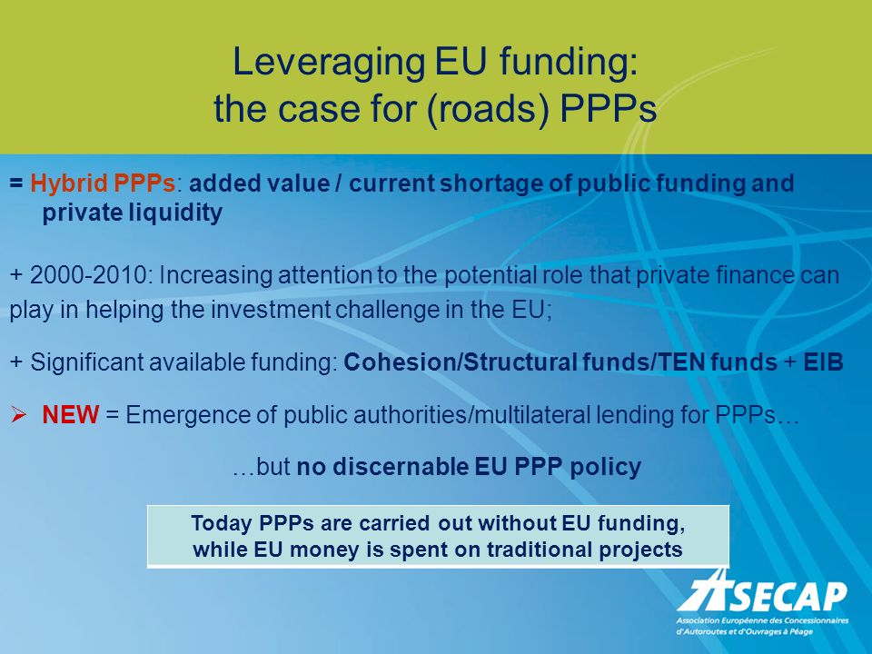 Leveraging EU funding: the case for (roads) PPPs = Hybrid PPPs: added value / current shortage of public funding and private liquidity + 2000-2010: Increasing attention to the potential role that private finance can play in helping the investment challenge in the EU; + Significant available funding: Cohesion/Structural funds/TEN funds + EIB NEW = Emergence of public authorities/multilateral lending for PPPs… …but no discernable EU PPP policy Today PPPs are carried out without EU funding, while EU money is spent on traditional projects