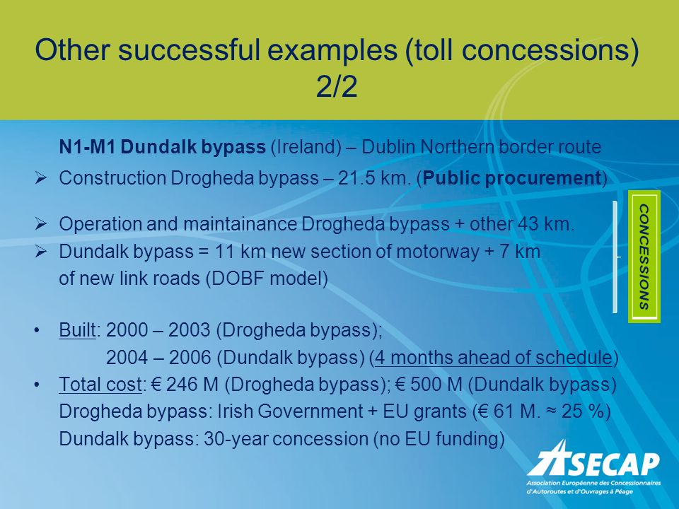 Other successful examples (toll concessions) 2/2 N1-M1 Dundalk bypass (Ireland) – Dublin Northern border route Construction Drogheda bypass – 21.5 km.