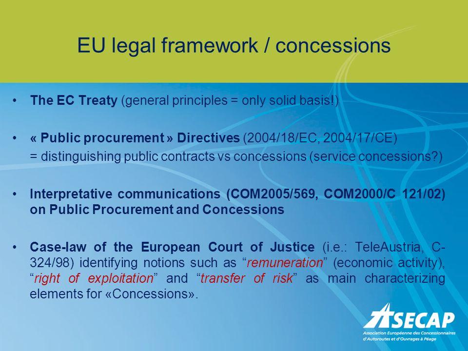 EU legal framework / concessions The EC Treaty (general principles = only solid basis!) « Public procurement » Directives (2004/18/EC, 2004/17/CE) = d