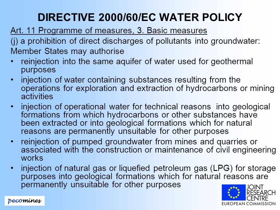 DIRECTIVE 2000/60/EC WATER POLICY Art. 11 Programme of measures, 3.