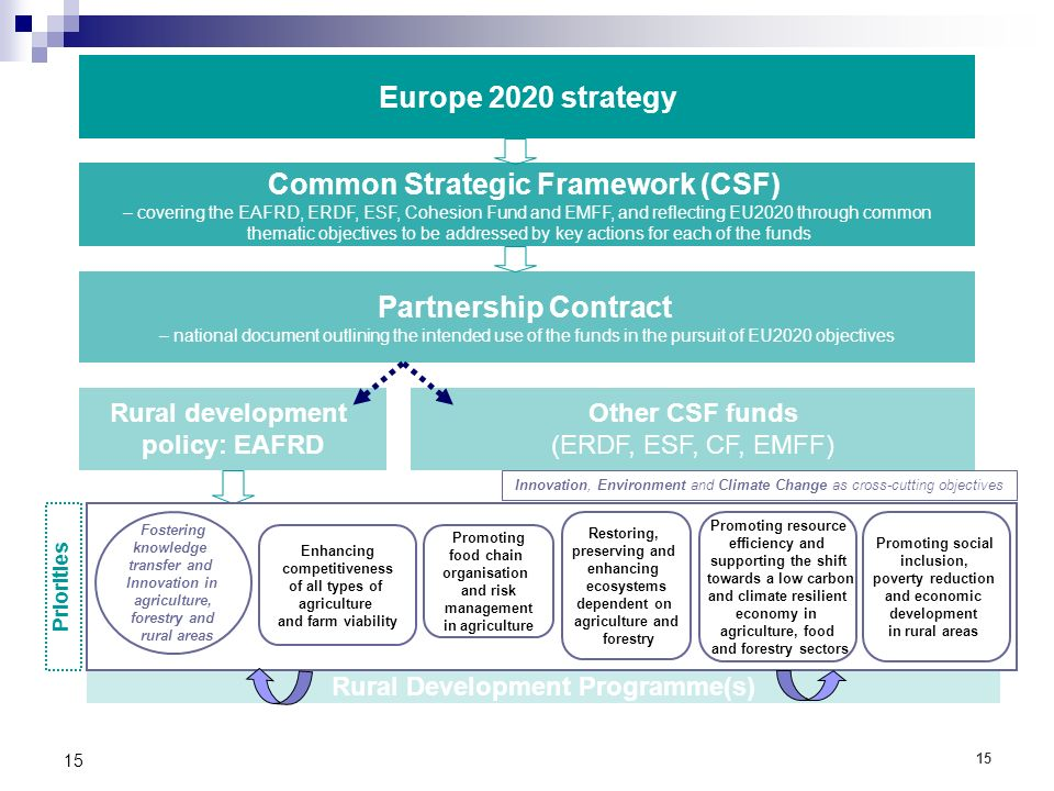 15 Common Strategic Framework (CSF) – covering the EAFRD, ERDF, ESF, Cohesion Fund and EMFF, and reflecting EU2020 through common thematic objectives