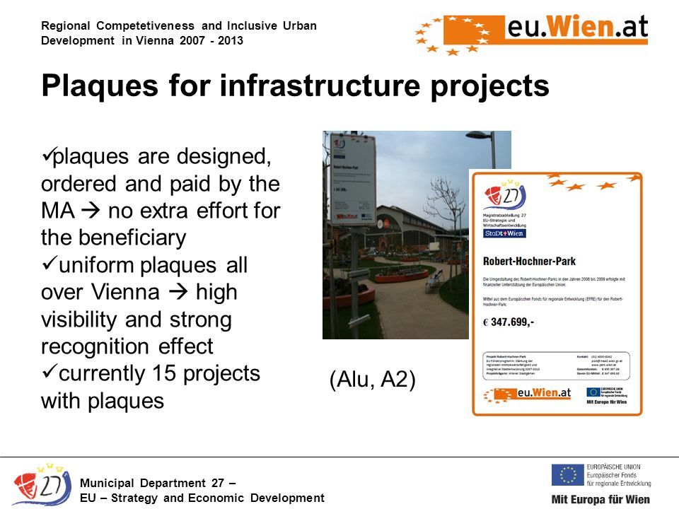 Regional Competetiveness and Inclusive Urban Development in Vienna Municipal Department 27 – EU – Strategy and Economic Development Plaques for infrastructure projects (Alu, A2) plaques are designed, ordered and paid by the MA no extra effort for the beneficiary uniform plaques all over Vienna high visibility and strong recognition effect currently 15 projects with plaques