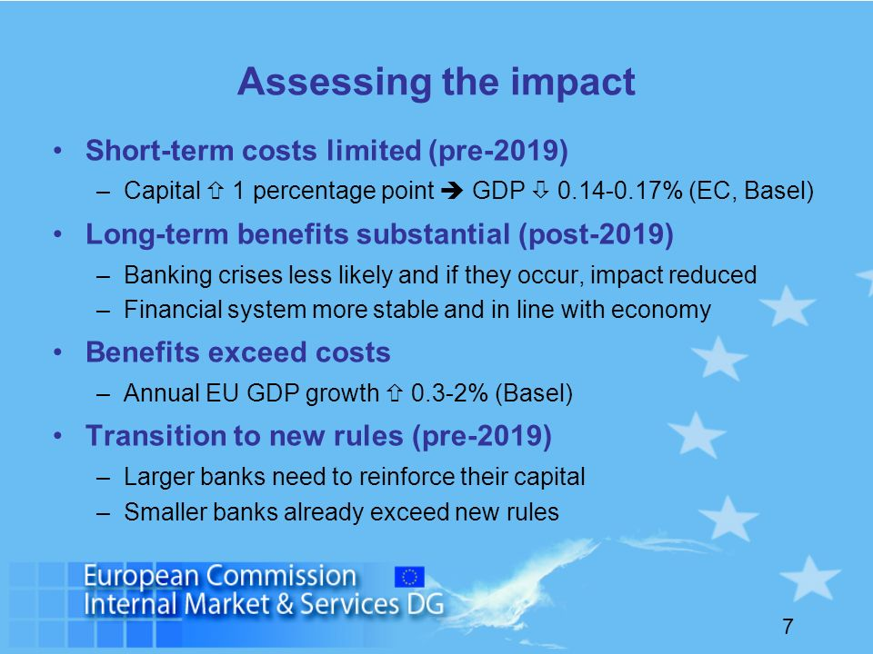 7 Assessing the impact Short-term costs limited (pre-2019) –Capital 1 percentage point GDP 0.14-0.17% (EC, Basel) Long-term benefits substantial (post-2019) –Banking crises less likely and if they occur, impact reduced –Financial system more stable and in line with economy Benefits exceed costs –Annual EU GDP growth 0.3-2% (Basel) Transition to new rules (pre-2019) –Larger banks need to reinforce their capital –Smaller banks already exceed new rules
