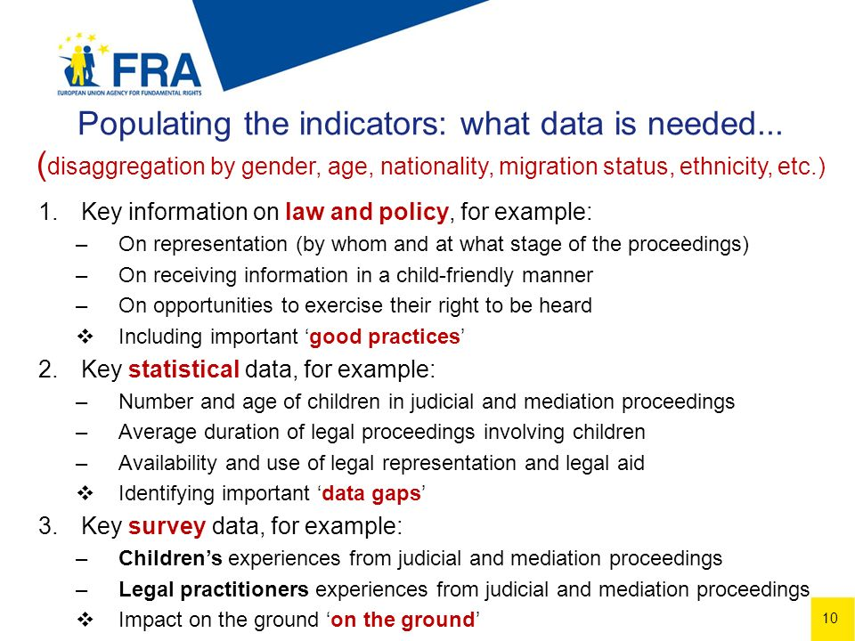 10 Populating the indicators: what data is needed...