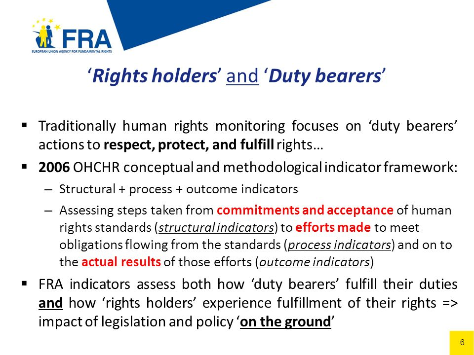 6 Rights holders and Duty bearers Traditionally human rights monitoring focuses on duty bearers actions to respect, protect, and fulfill rights… 2006 OHCHR conceptual and methodological indicator framework: – Structural + process + outcome indicators – Assessing steps taken from commitments and acceptance of human rights standards (structural indicators) to efforts made to meet obligations flowing from the standards (process indicators) and on to the actual results of those efforts (outcome indicators) FRA indicators assess both how duty bearers fulfill their duties and how rights holders experience fulfillment of their rights => impact of legislation and policy on the ground