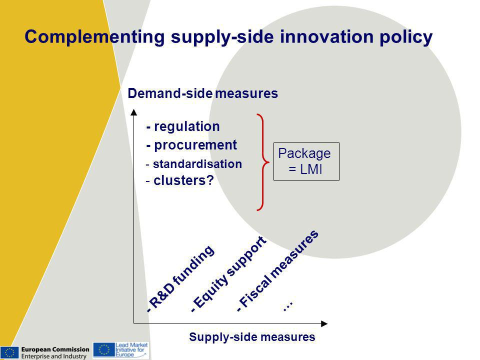 Supply-side measures Demand-side measures - regulation - procurement - R&D funding - Equity support - Fiscal measures … - standardisation - clusters.