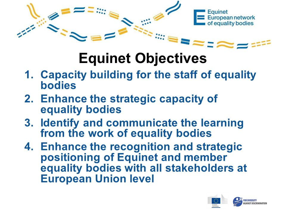 Equinet Objectives 1.Capacity building for the staff of equality bodies 2.Enhance the strategic capacity of equality bodies 3.Identify and communicate the learning from the work of equality bodies 4.Enhance the recognition and strategic positioning of Equinet and member equality bodies with all stakeholders at European Union level