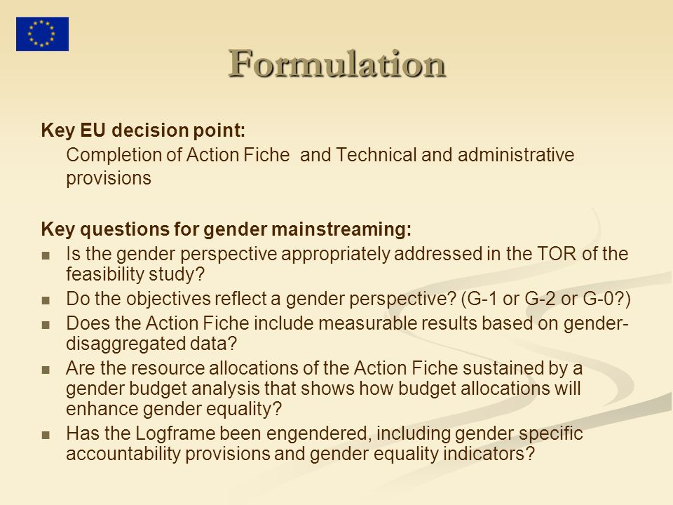 Formulation Key EU decision point: Completion of Action Fiche and Technical and administrative provisions Key questions for gender mainstreaming: Is the gender perspective appropriately addressed in the TOR of the feasibility study.