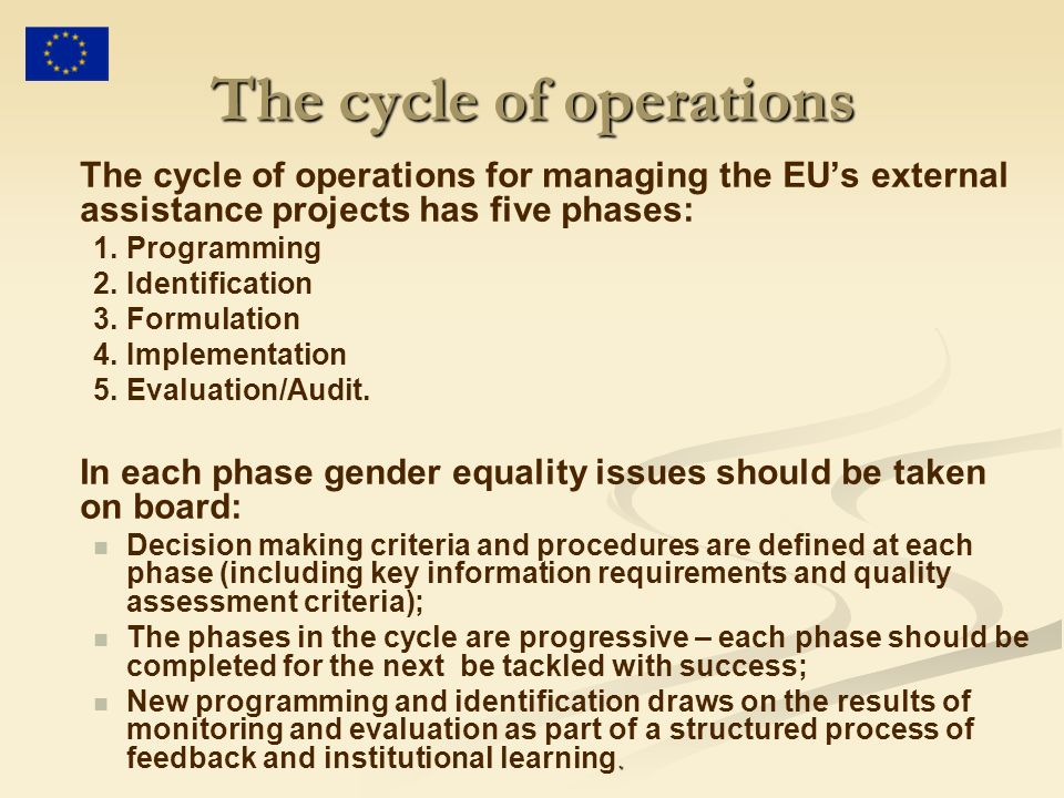 The cycle of operations The cycle of operations for managing the EUs external assistance projects has five phases: 1.Programming 2.