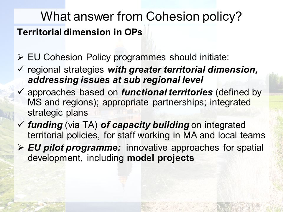 What answer from Cohesion policy.