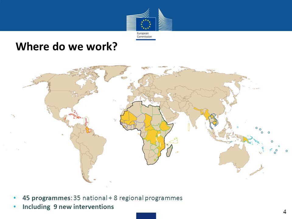 Where do we work? 4 45 programmes: 35 national + 8 regional programmes Including 9 new interventions