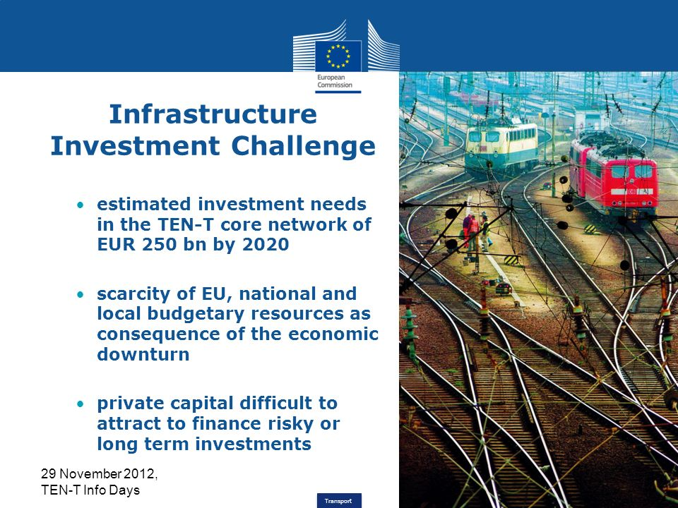 Transport Infrastructure Investment Challenge estimated investment needs in the TEN-T core network of EUR 250 bn by 2020 scarcity of EU, national and local budgetary resources as consequence of the economic downturn private capital difficult to attract to finance risky or long term investments 29 November 2012, TEN-T Info Days 2