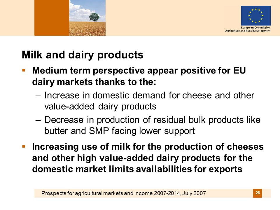 Prospects for agricultural markets and income 2007-2014, July 2007 28 Milk and dairy products Medium term perspective appear positive for EU dairy markets thanks to the: –Increase in domestic demand for cheese and other value-added dairy products –Decrease in production of residual bulk products like butter and SMP facing lower support Increasing use of milk for the production of cheeses and other high value-added dairy products for the domestic market limits availabilities for exports