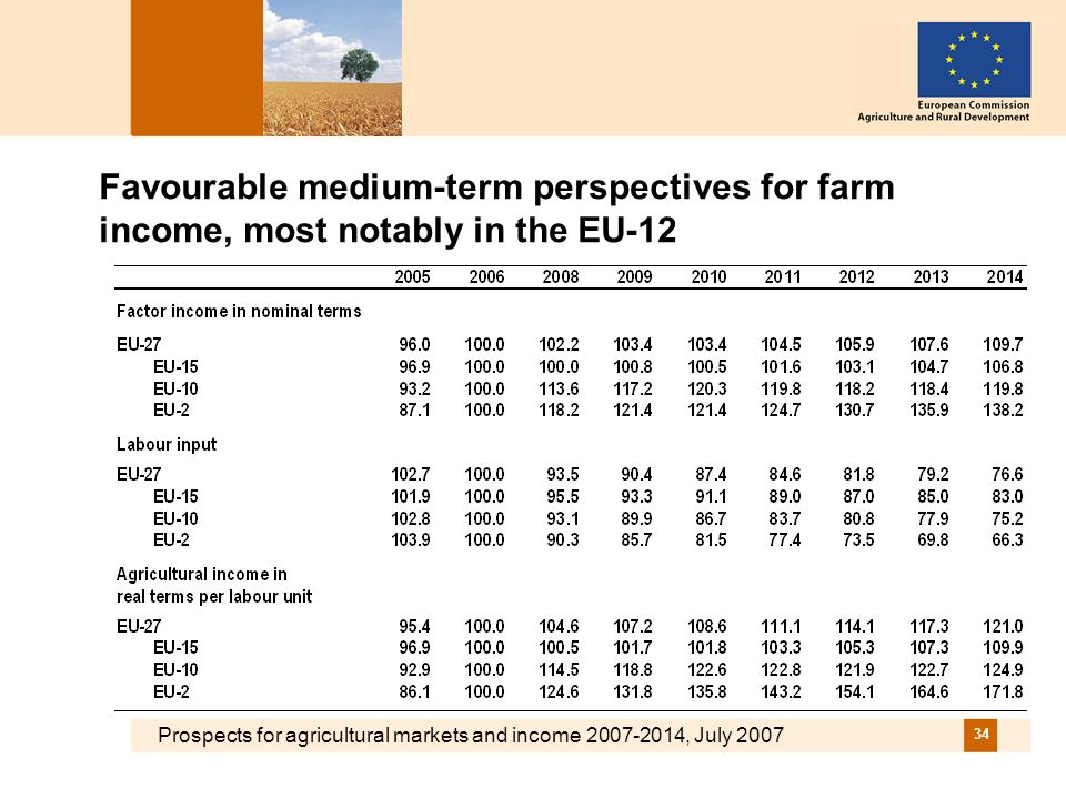 Prospects for agricultural markets and income 2007-2014, July 2007 34 Favourable medium-term perspectives for farm income, most notably in the EU-12
