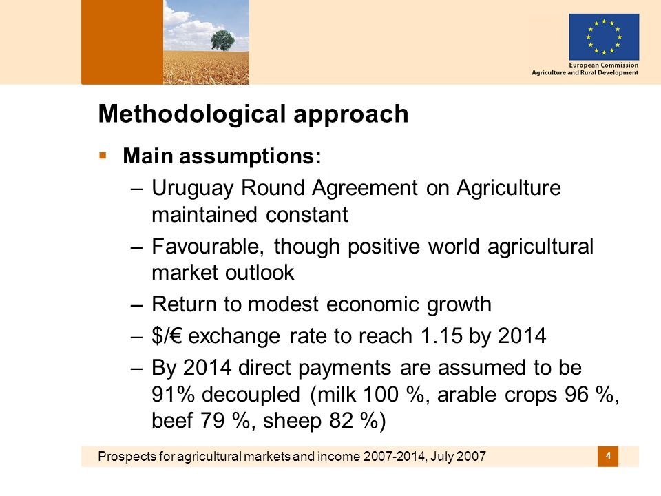 Prospects for agricultural markets and income 2007-2014, July 2007 4 Methodological approach Main assumptions: –Uruguay Round Agreement on Agriculture maintained constant –Favourable, though positive world agricultural market outlook –Return to modest economic growth –$/ exchange rate to reach 1.15 by 2014 –By 2014 direct payments are assumed to be 91% decoupled (milk 100 %, arable crops 96 %, beef 79 %, sheep 82 %)