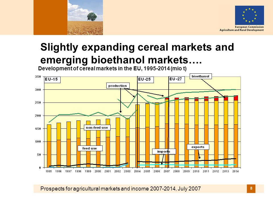 Prospects for agricultural markets and income 2007-2014, July 2007 8 Slightly expanding cereal markets and emerging bioethanol markets….