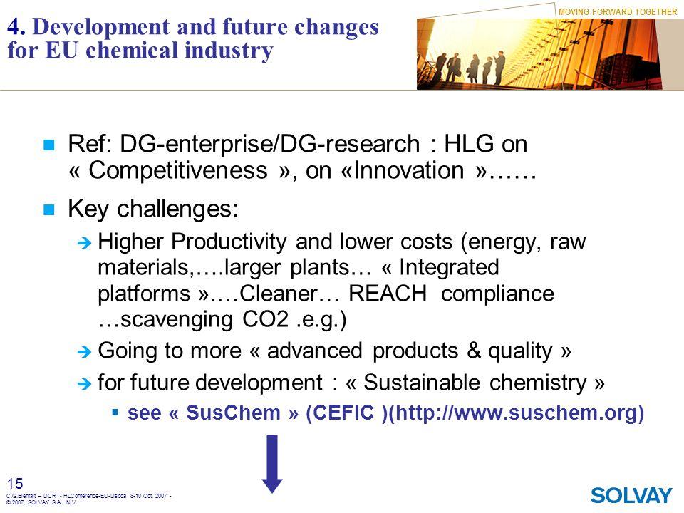 MOVING FORWARD TOGETHER 15 C.G.Bienfait – DCRT- HLConference-EU-Lisboa 8-10 Oct. 2007 - © 2007, SOLVAY S.A. N.V. 4. Development and future changes for