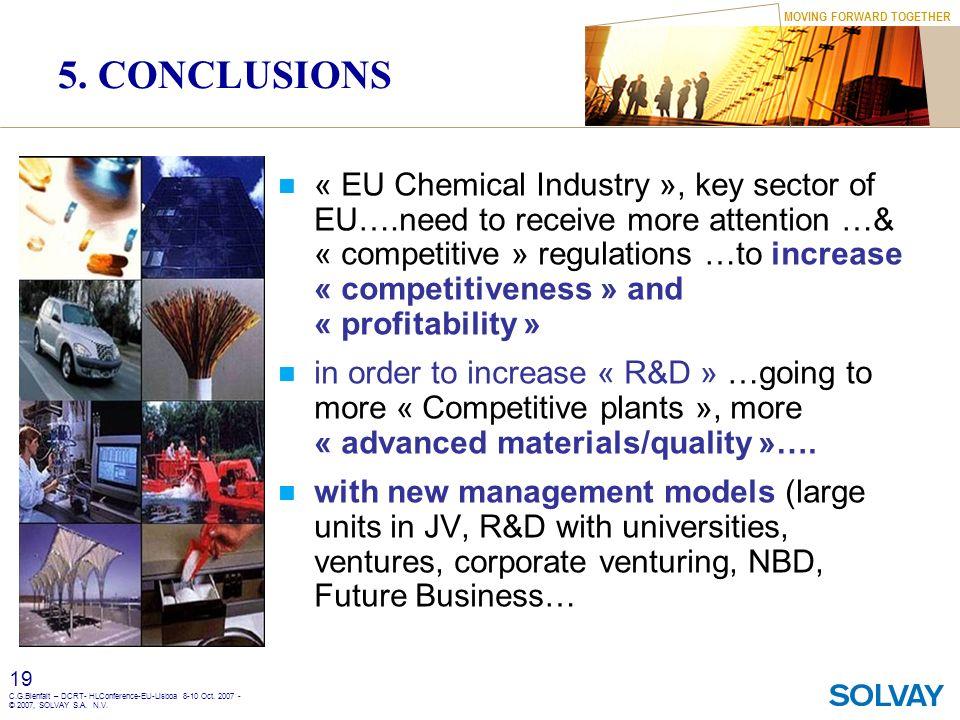 MOVING FORWARD TOGETHER 19 C.G.Bienfait – DCRT- HLConference-EU-Lisboa 8-10 Oct. 2007 - © 2007, SOLVAY S.A. N.V. 5. CONCLUSIONS « EU Chemical Industry