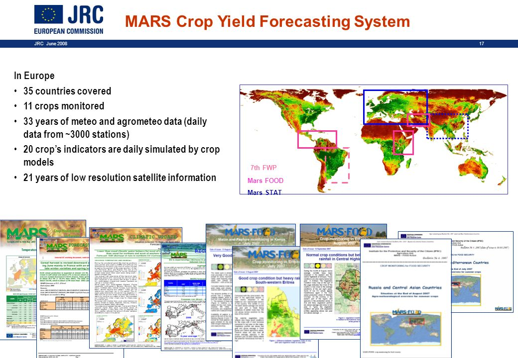 17JRC June 2008 In Europe 35 countries covered 11 crops monitored 33 years of meteo and agrometeo data (daily data from ~3000 stations) 20 crops indic
