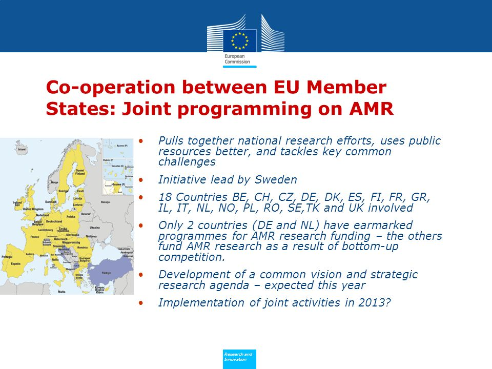 Policy Research and Innovation Research and Innovation Co-operation between EU Member States: Joint programming on AMR Pulls together national research efforts, uses public resources better, and tackles key common challenges Initiative lead by Sweden 18 Countries BE, CH, CZ, DE, DK, ES, FI, FR, GR, IL, IT, NL, NO, PL, RO, SE,TK and UK involved Only 2 countries (DE and NL) have earmarked programmes for AMR research funding – the others fund AMR research as a result of bottom-up competition.