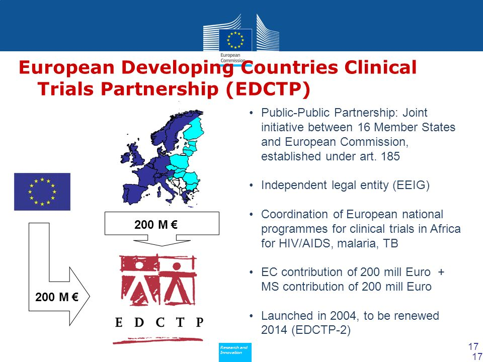 Policy Research and Innovation Research and Innovation European Developing Countries Clinical Trials Partnership (EDCTP) Public-Public Partnership: Joint initiative between 16 Member States and European Commission, established under art.