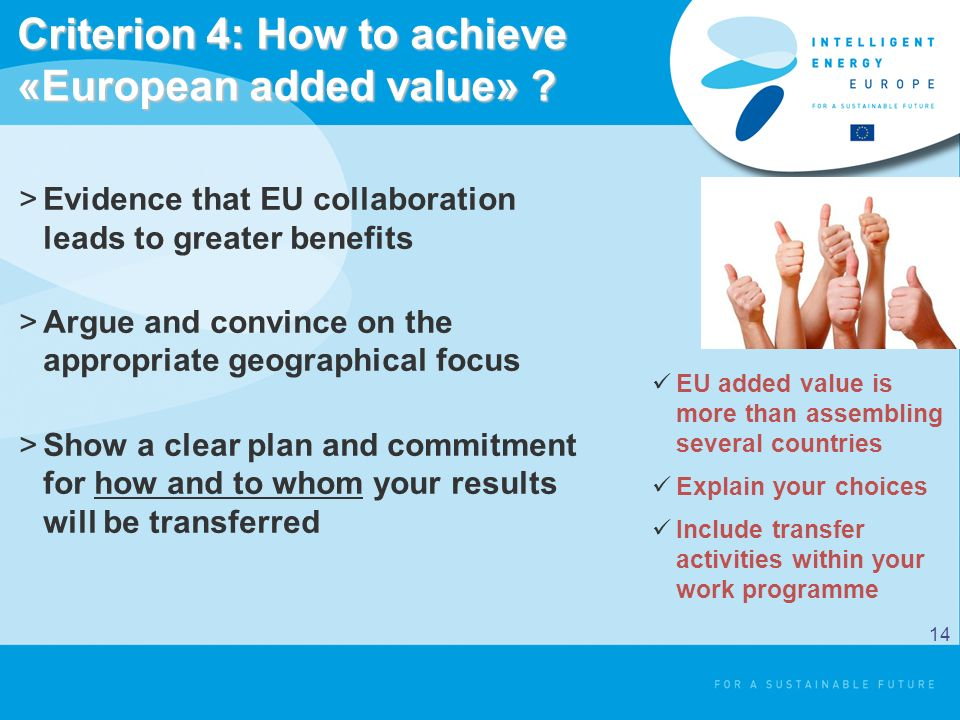 Criterion 4: How to achieve «European added value» .