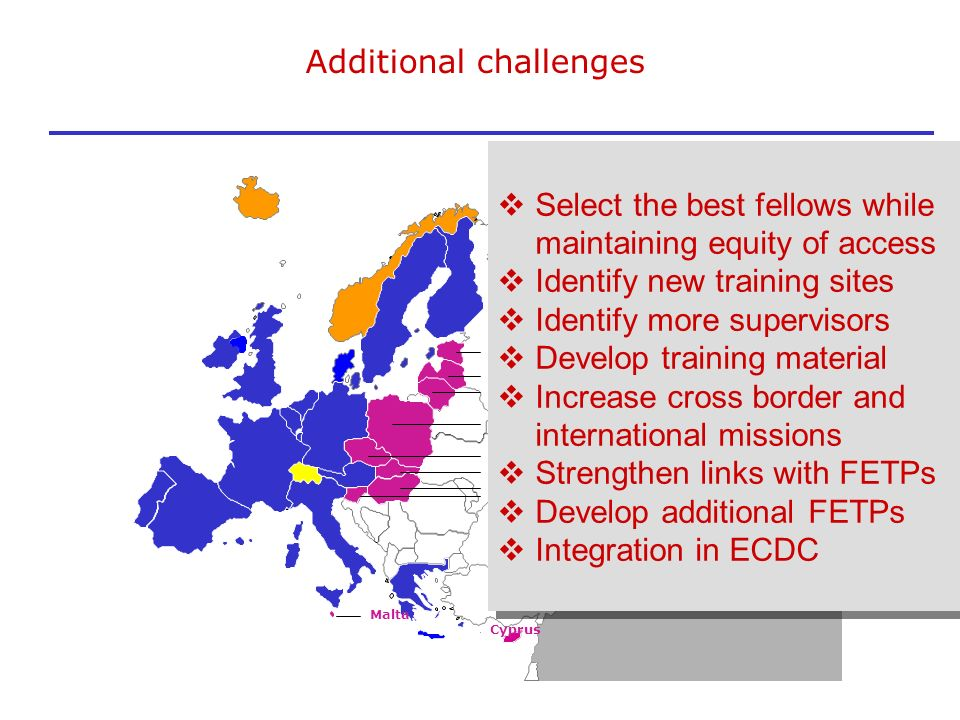 Additional challenges Latvia Slovakia Estonia Lithuania Poland Cezch Rep. Hungary Slovenia Cyprus Malta Select the best fellows while maintaining equi