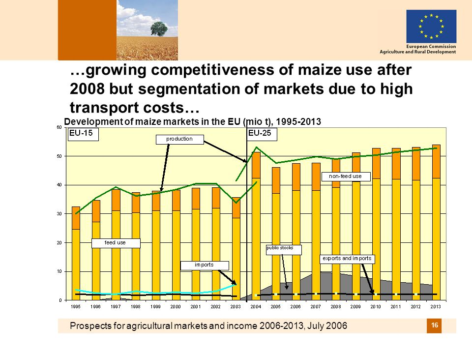 Prospects for agricultural markets and income 2006-2013, July 2006 16 …growing competitiveness of maize use after 2008 but segmentation of markets due to high transport costs… Development of maize markets in the EU (mio t), 1995-2013