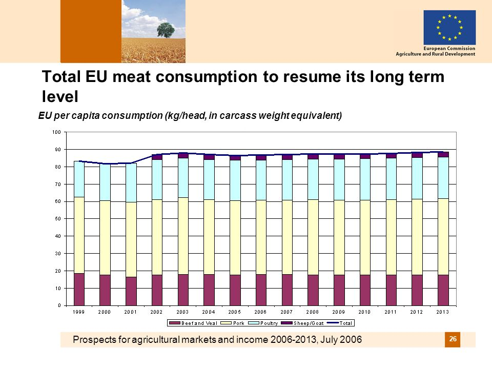Prospects for agricultural markets and income 2006-2013, July 2006 26 Total EU meat consumption to resume its long term level EU per capita consumption (kg/head, in carcass weight equivalent)