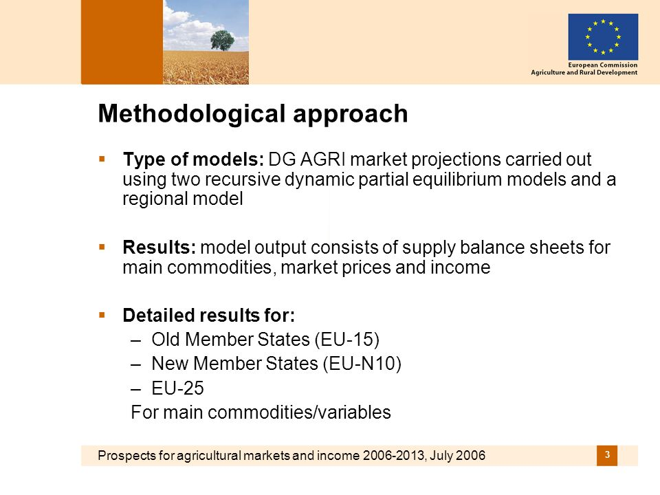 Prospects for agricultural markets and income 2006-2013, July 2006 3 Methodological approach Type of models: DG AGRI market projections carried out using two recursive dynamic partial equilibrium models and a regional model Results: model output consists of supply balance sheets for main commodities, market prices and income Detailed results for: –Old Member States (EU-15) –New Member States (EU-N10) –EU-25 For main commodities/variables