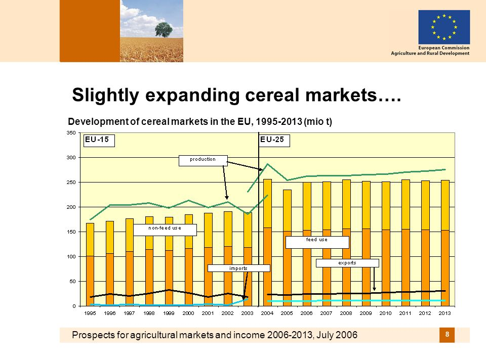 Prospects for agricultural markets and income 2006-2013, July 2006 8 Slightly expanding cereal markets….