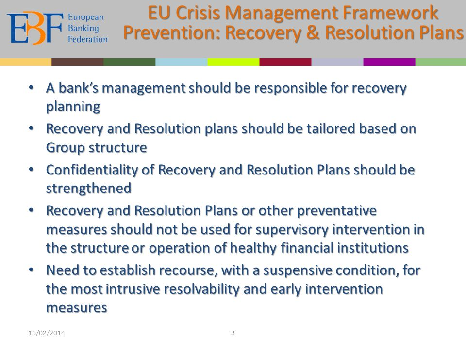 A banks management should be responsible for recovery planning A banks management should be responsible for recovery planning Recovery and Resolution plans should be tailored based on Group structure Recovery and Resolution plans should be tailored based on Group structure Confidentiality of Recovery and Resolution Plans should be strengthened Confidentiality of Recovery and Resolution Plans should be strengthened Recovery and Resolution Plans or other preventative measures should not be used for supervisory intervention in the structure or operation of healthy financial institutions Recovery and Resolution Plans or other preventative measures should not be used for supervisory intervention in the structure or operation of healthy financial institutions Need to establish recourse, with a suspensive condition, for the most intrusive resolvability and early intervention measures Need to establish recourse, with a suspensive condition, for the most intrusive resolvability and early intervention measures 16/02/20143 EU Crisis Management Framework Prevention: Recovery & Resolution Plans